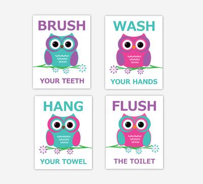Owls Kids Bath Art Purple Teal Pink Brush Wash Hang Flush Bath Rules Decor SET OF 4 UNFRAMED PRINTS