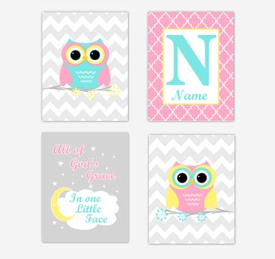 Owls Baby Girl Nursery Wall Art Prints Personalized Baby Nursery Decor Pink Aqua Teal Yellow All Of Gods Grace