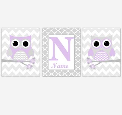 Purple Owl Baby Girl Nursery Wall Art Prints Personalized Baby Nursery Decor Birds Lavender Gray