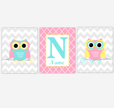 Owl Baby Girl Nursery Wall Art Pink Yellow Teal Aqua Personalized Baby Nursery Decor Birds