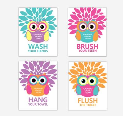 Owl Bath Wall Art Kids Bathroom Prints Decor Bath Rules Wash Brush Hang Flush Dahlia Mum Home DecorTribal Baby Nursery Decor