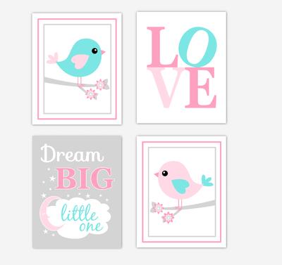 Birds Baby Girl Nursery Wall Art Prints Pink Aqua Teal LOVE Baby Nursery Decor Dream Big Little One