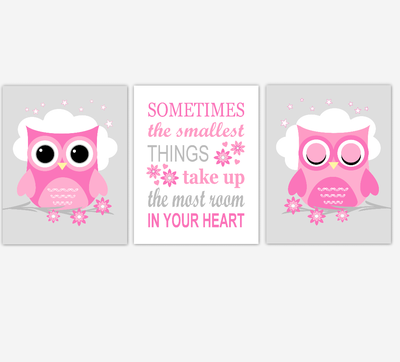 Owl Baby Girl Nursery Wall Art Prints Pink Gray Birds Baby Nursery Decor