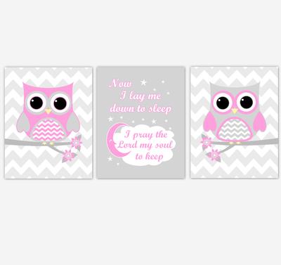 Owl Baby Girl Nursery Wall Art Pink Gray Birds Nursery Rhyme Baby Nursery Decor Now I Lay Me Down To Sleep