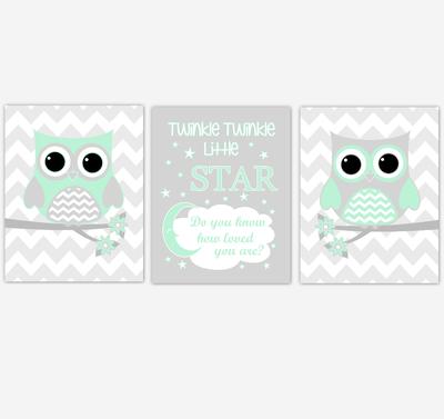 Owl Baby Girl Nursery Wall Art Mint Green Gray Birds Baby Nursery Decor Prints