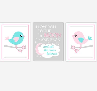 Birds Baby Girl Nursery Wall Art Pink Teal Aqua Baby Nursery Decor Prints Home Decor