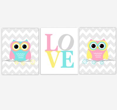 Owls Baby Girl Nursery Wall Art Pink Yellow Teal Aqua Gray Birds Baby Nursery Decor Prints LOVE