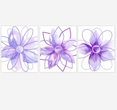 Watercolor Flower Wall Art Baby Girl Nursery Purple Shades Floral Wall Art Prints Home Decor SET OF 3 UNFRAMED PRINTS