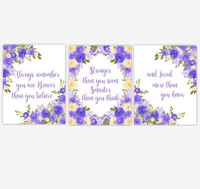 Watercolor Flower Wall Art Baby Girl Nursery Purple Yellow Floral Wall Art Prints Home Decor SET OF 3 UNFRAMED PRINTS