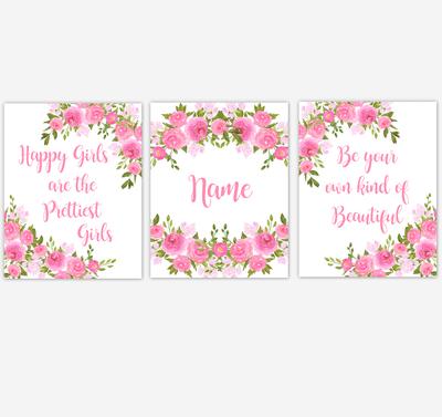 Watercolor Flower Wall Art Pink Floral Girl Bedroom Art Prints Baby Nursery Decor SET OF 3 UNFRAMED PRINTS