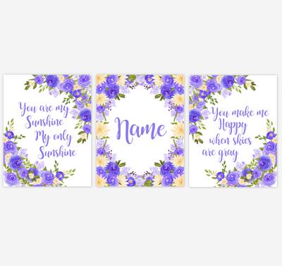 Watercolor Flower Wall Art Purple Yellow Floral Girl Bedroom Art Prints Baby Nursery Decor SET OF 3 UNFRAMED PRINTS