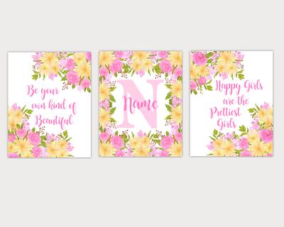 Peonies Watercolor Flower Wall Art Pink Yellow Floral Girl Bedroom Art Prints Baby Nursery Decor SET OF 3 UNFRAMED PRINT