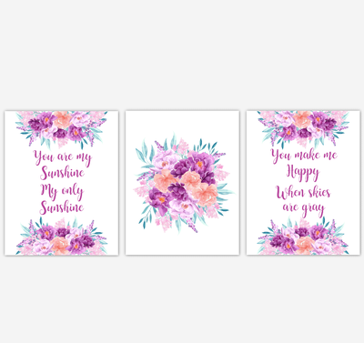 Baby Girl Nursery Wall Art Watercolor Floral Purple Coral Peach Flower Prints Baby Nursery Decor SET OF 3 UNFRAMED PRINTS
