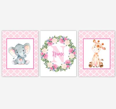 Baby Girl Nursery Wall Art Elephant Giraffe Safari Pink Floral Flowers Personalized Baby Nursery Decor SET OF 3 UNFRAMED PRINTS