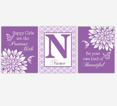 Baby Girl Nursery Wall Art Butterfly Dahlia Mum Purple Floral Flowers Personalized Baby Nursery Decor SET OF 3 UNFRAMED PRINTS