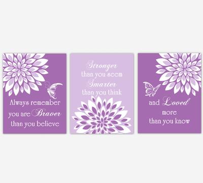 Baby Girl Nursery Wall Art Purple Dahlia Mum Flower Floral Butterfly Prints Baby Nursery Decor SET OF 3 UNFRAMED PRINTS