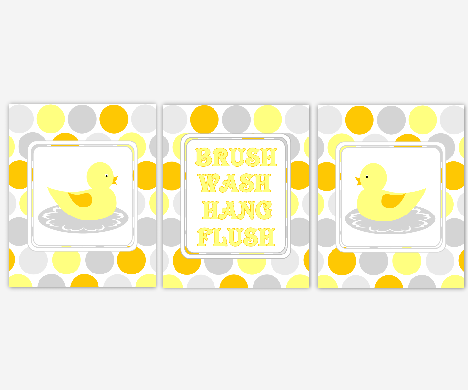 Kids Rubber Duck Ducky Bath Prints Wash Your Hands Brush Your Teeth Hang Your Towel Yellow Orange Gray Grey Duck Bath Prints for Childrens