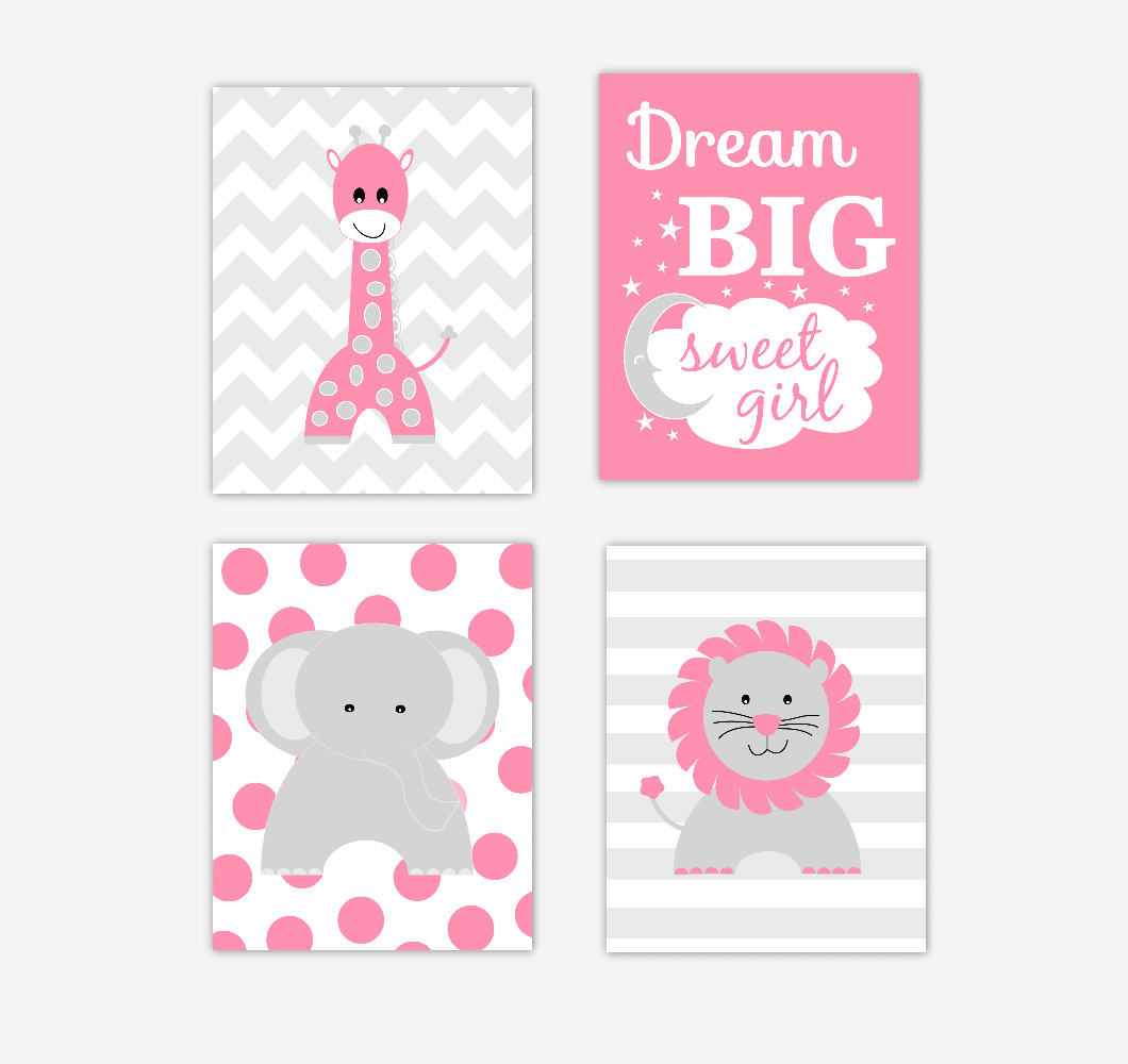Pink Safari Animals Baby Girl Nursery Wall Art Pink Gray Elephant Giraffe Lion Dream Big Sweet Girl Jungle Safari Zoo Animals Baby Nursery Decor