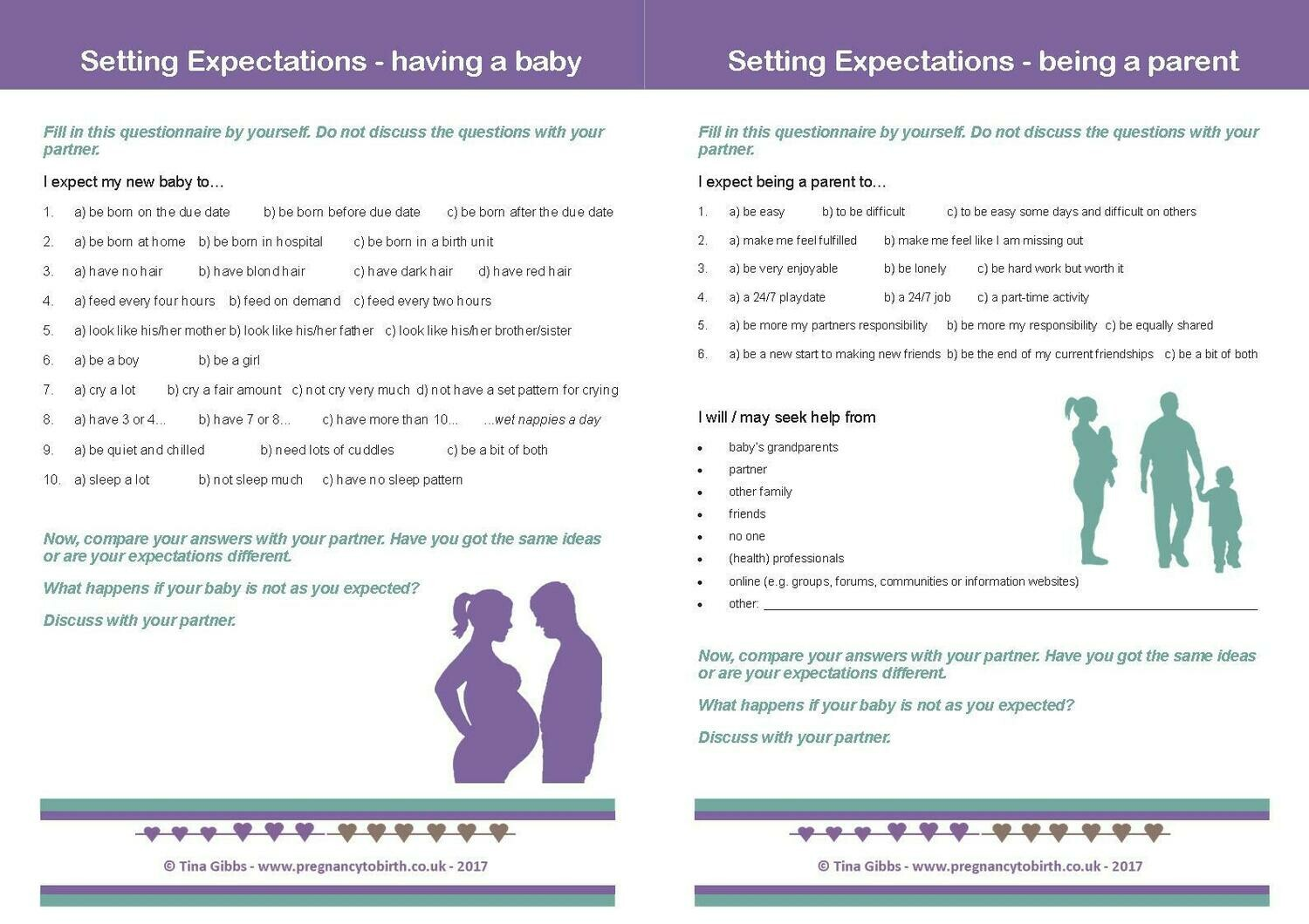 Setting Expectations. Parenting Homework sheets (print your own).