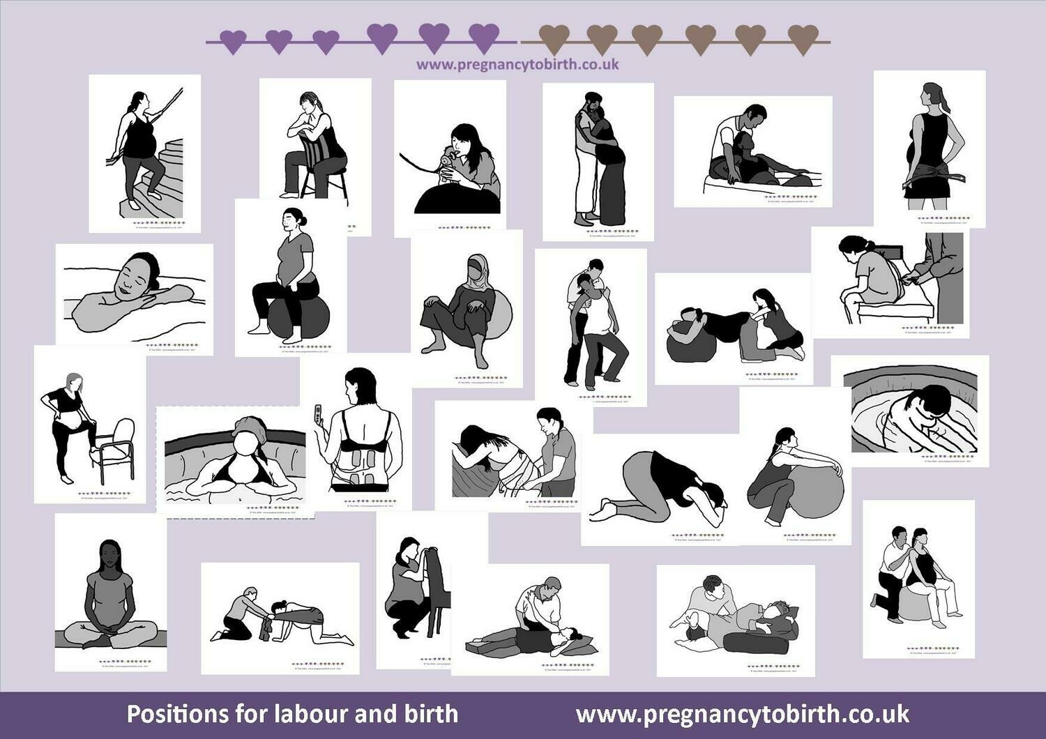 Positions for labour and birth - 350gsm premium cards