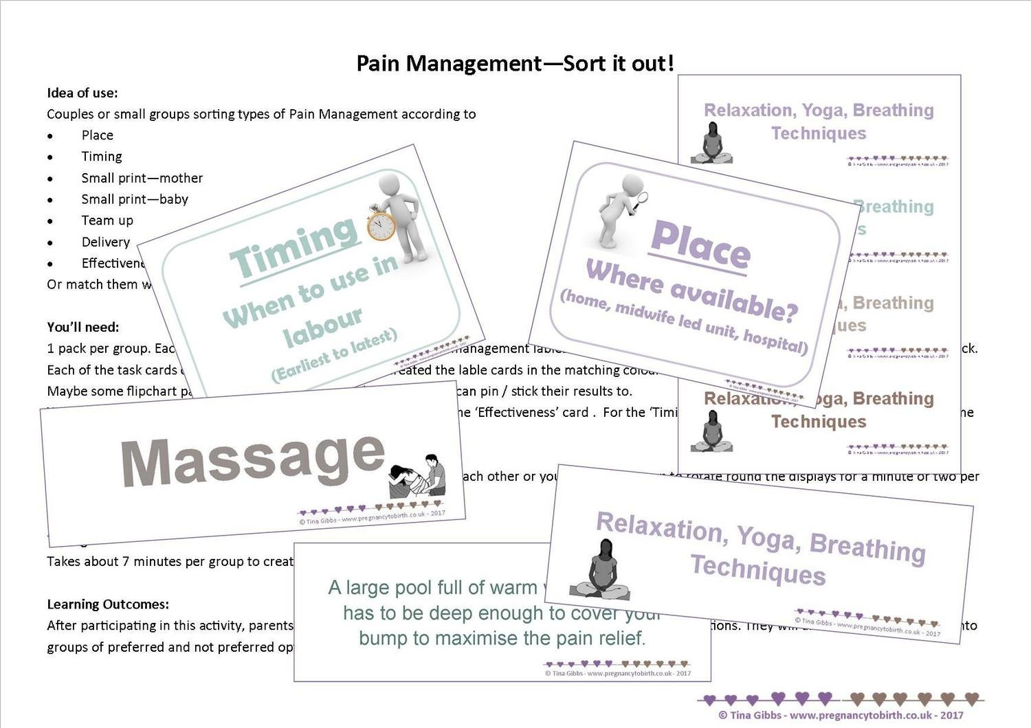 Pain Management - Sort it out! An activity for up to 8 small groups