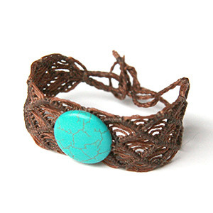 Wrist Band with Turquoise Stone- FREE SHIPPING