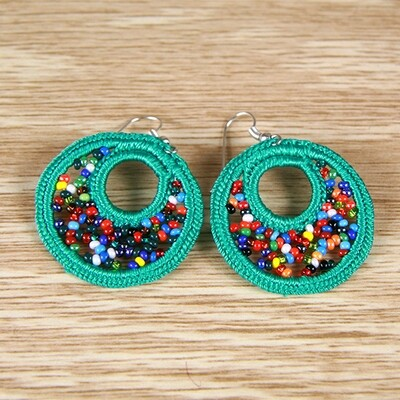 Handmade Earrings: Crocheted Cotton & Glass Bead- Mint Green- FREE SHIPPING