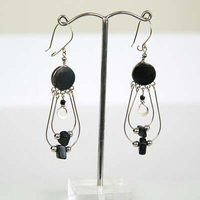 Peruvian Earrings with Onyx Stone- FREE SHIPPING