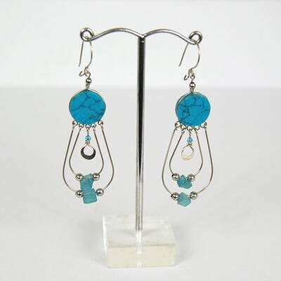 Peruvian Earrings with Howlite Stone- FREE SHIPPING