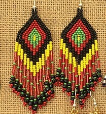 Glass Bead Earrings- Rasta- FREE POSTAGE!