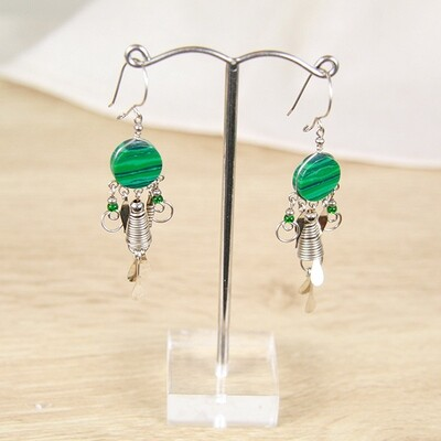 Peruvian Earrings with Malachite Stone- FREE SHIPPING