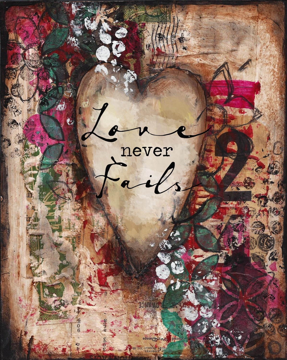 """""""Love never Fails"""" Print on Wood and Print to be Framed"""