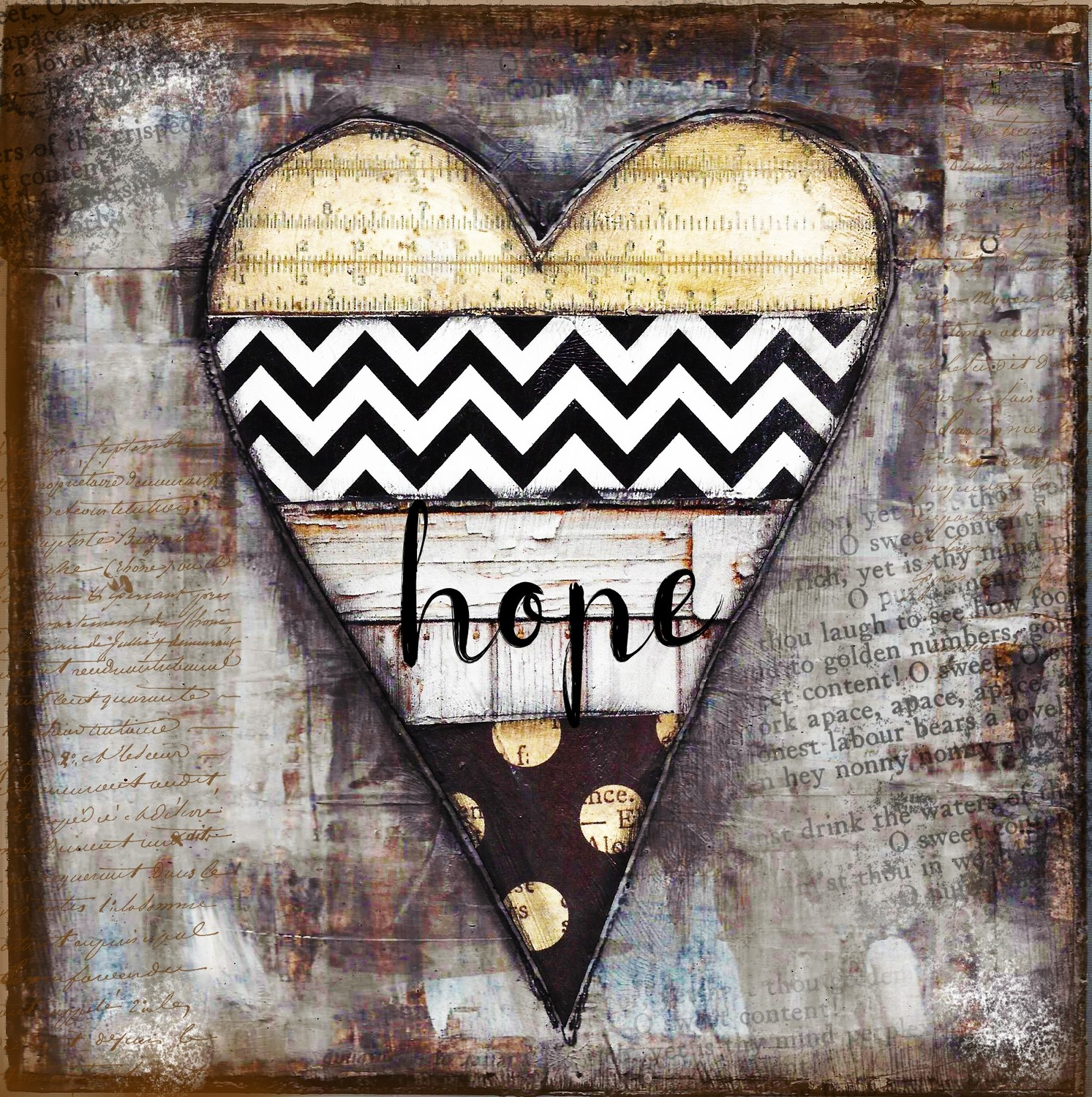 """""""Home"""" black and white heart Print on Wood and Print to be Framed"""