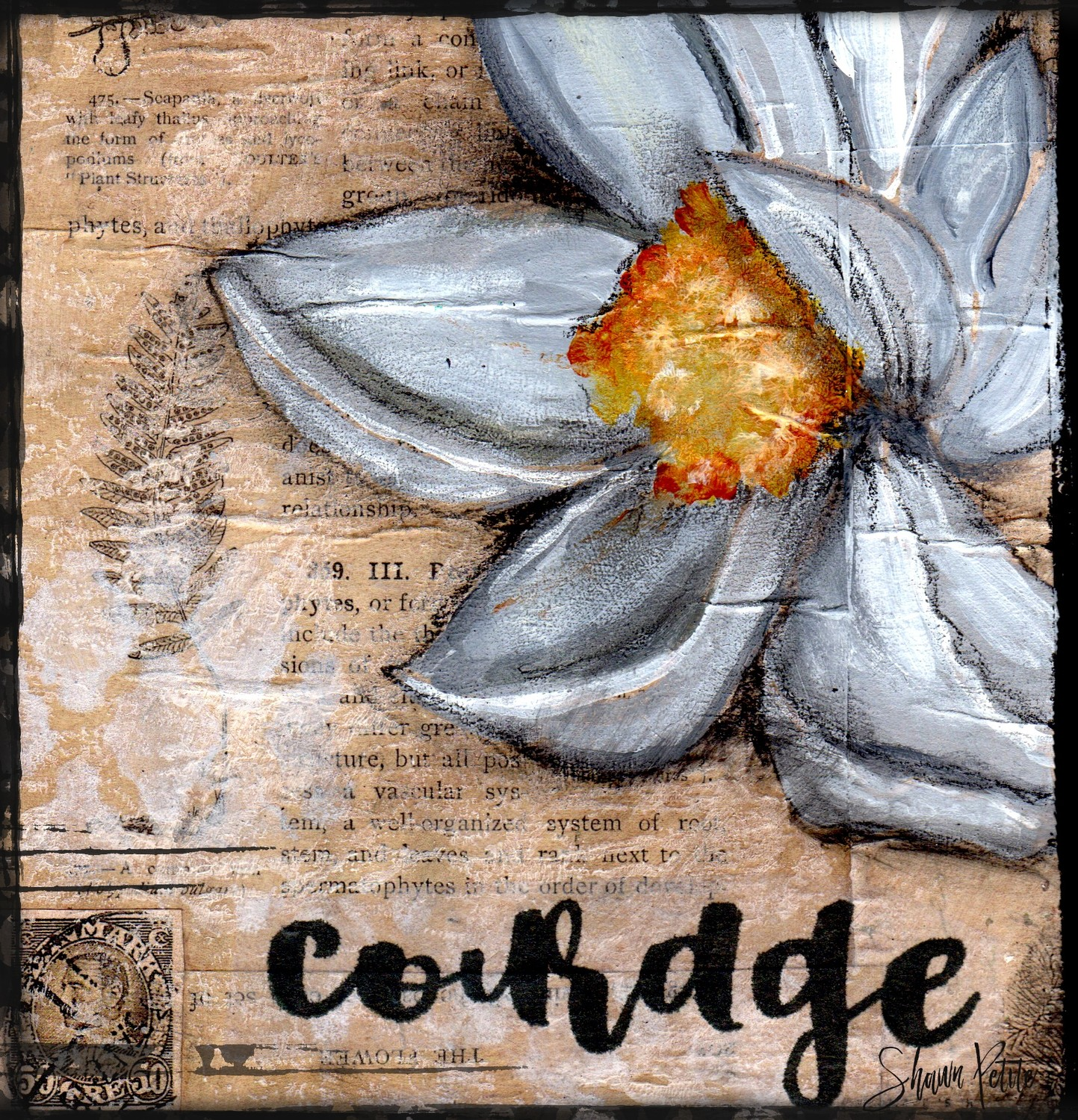 """""""Courage"""" magnolia, Print on Wood and Print to be Framed"""