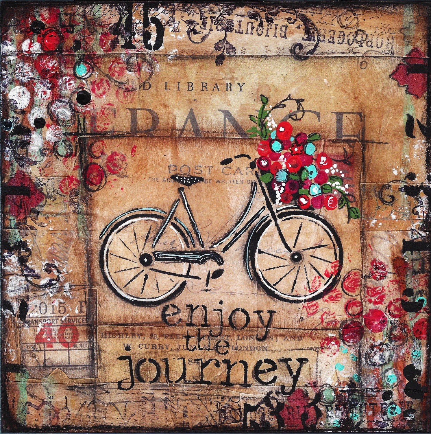 """""""Enjoy the Journey"""" bicycle Print on Wood and Print to be Framed"""
