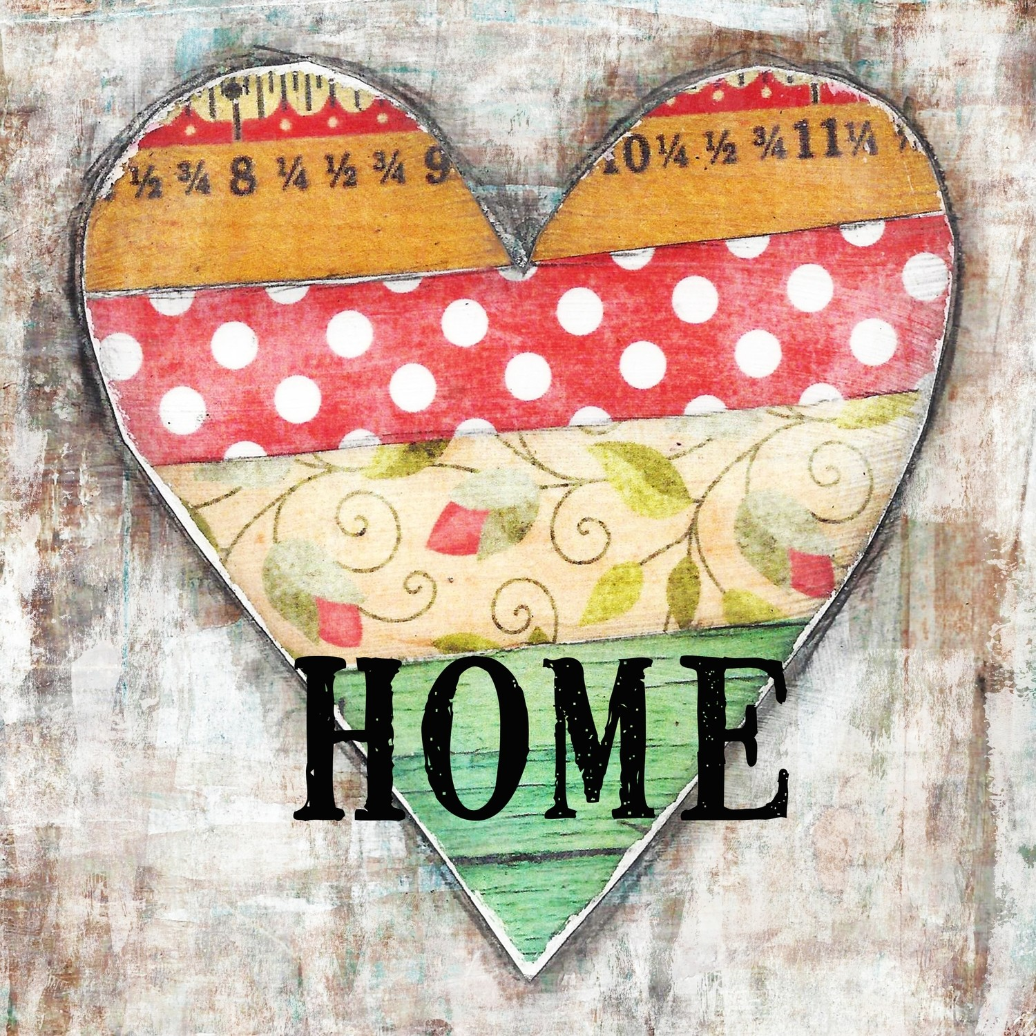"""""""Home"""" heart Print on Wood and Print to be Framed"""