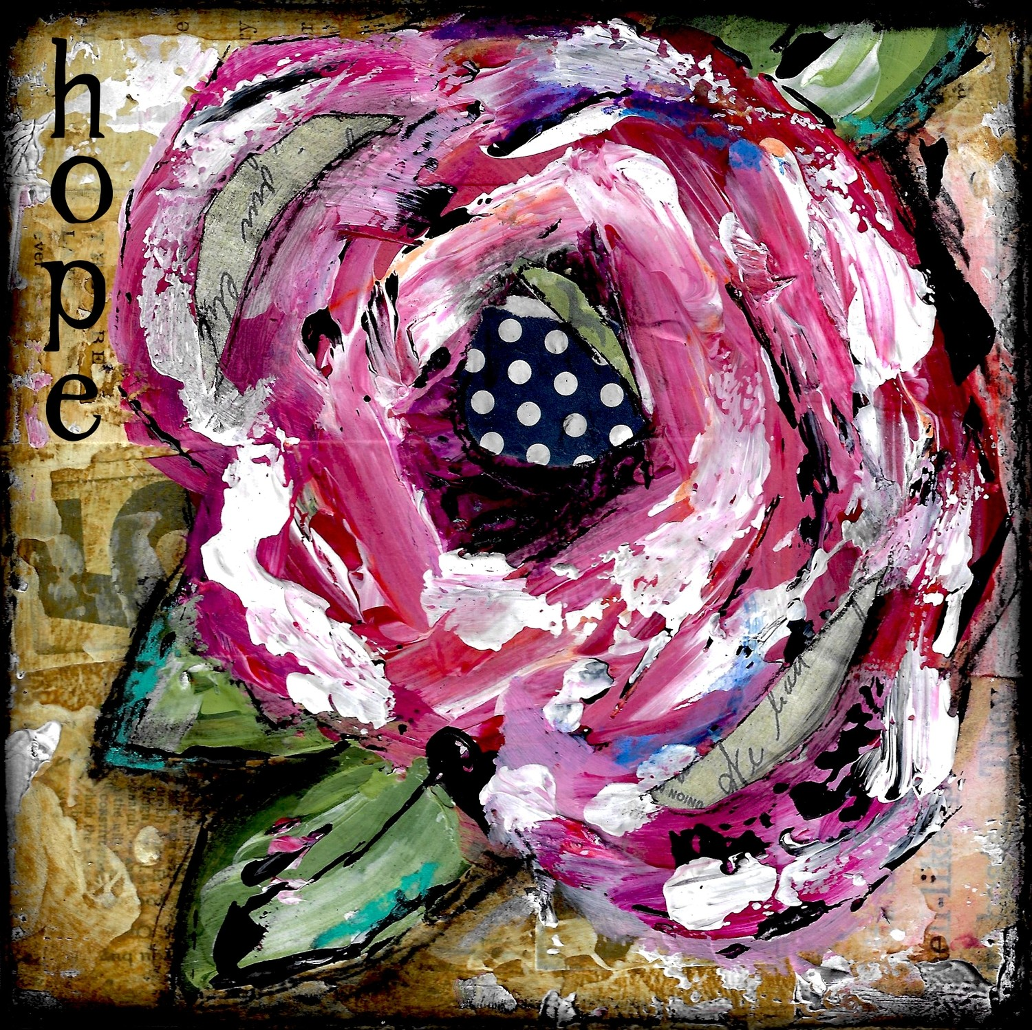 """""""Hope"""" Flower Print on Wood and Print to be Framed"""