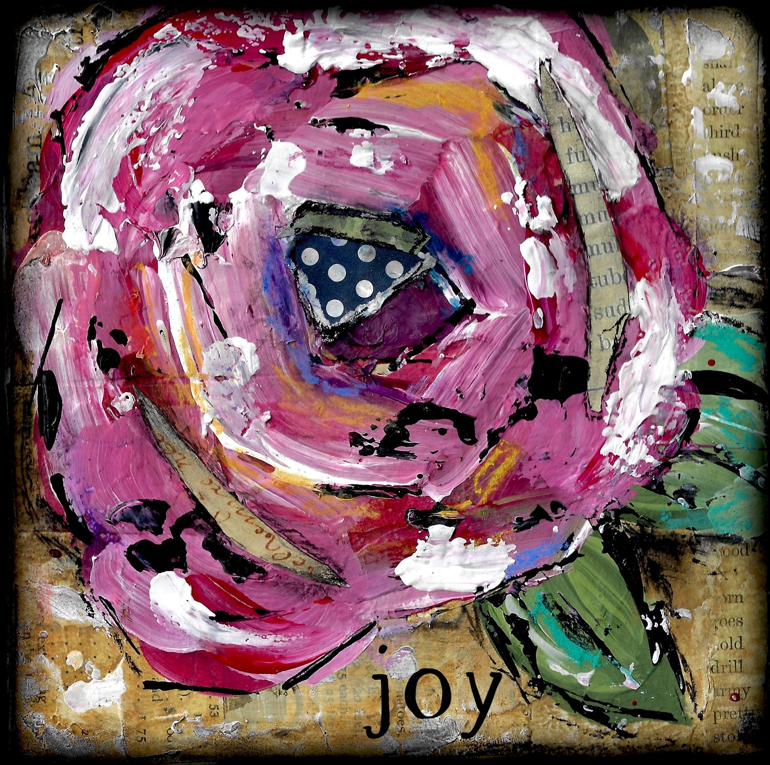 """""""Joy"""" Flower Print on Wood and Print to be Framed"""