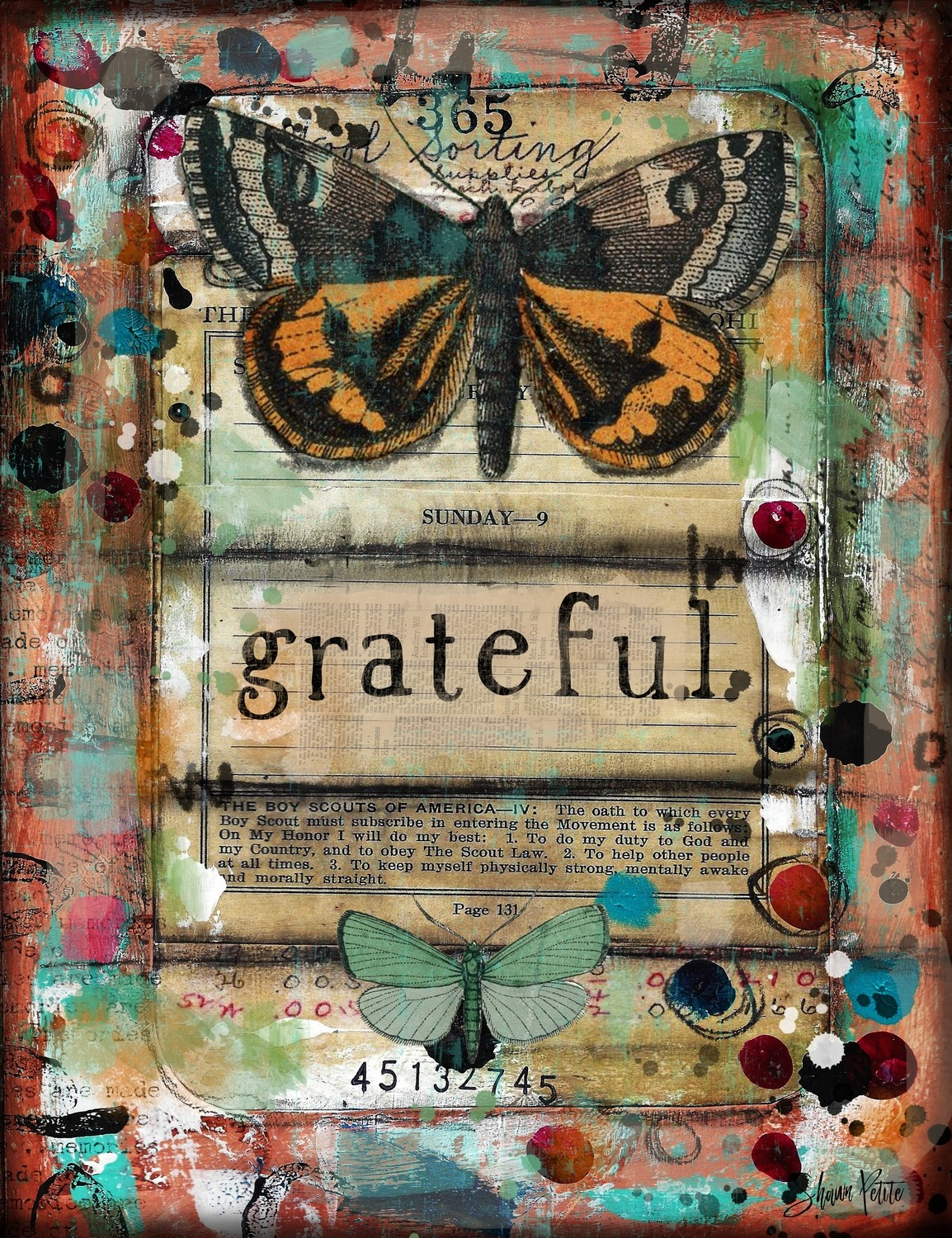 """""""Grateful"""" butterfly Print on Wood and Print to be Framed"""