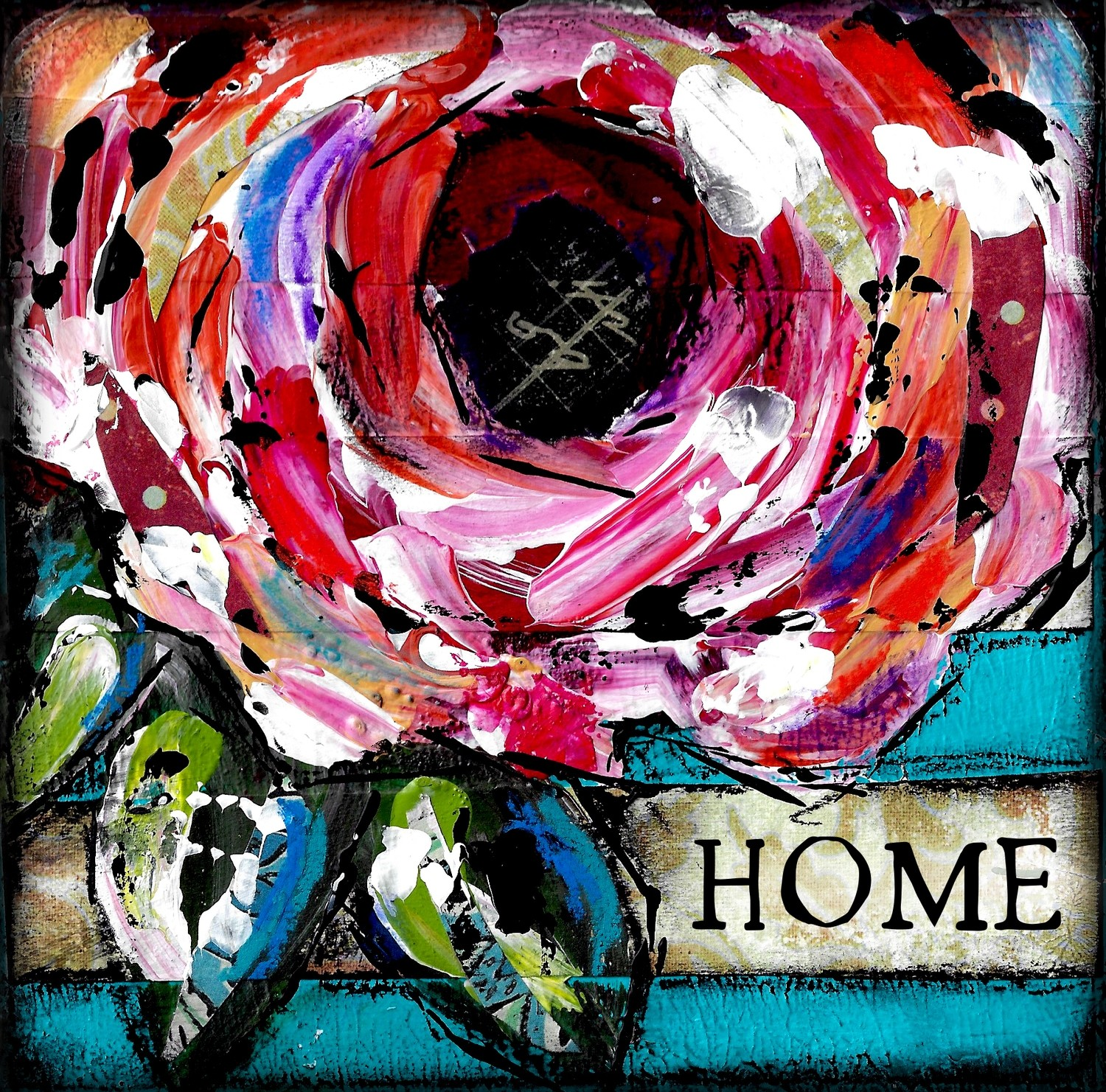 """""""Home"""" flower Print on Wood and Print to be Framed"""