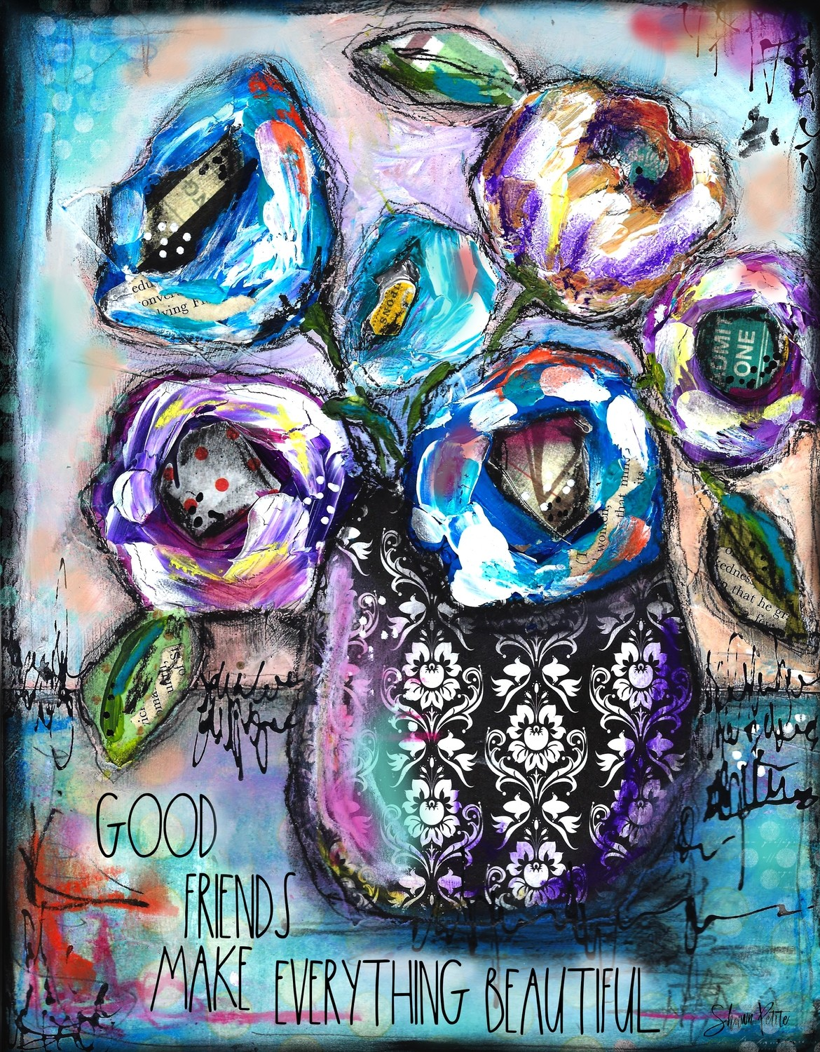 """""""Good Friends"""" flower vase Print on Wood and Print to be Framed"""