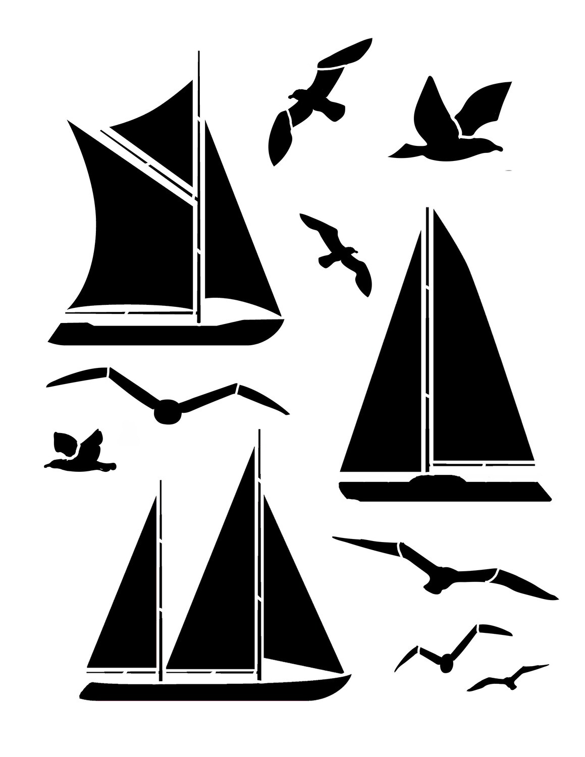 Boats and Birds Stencil