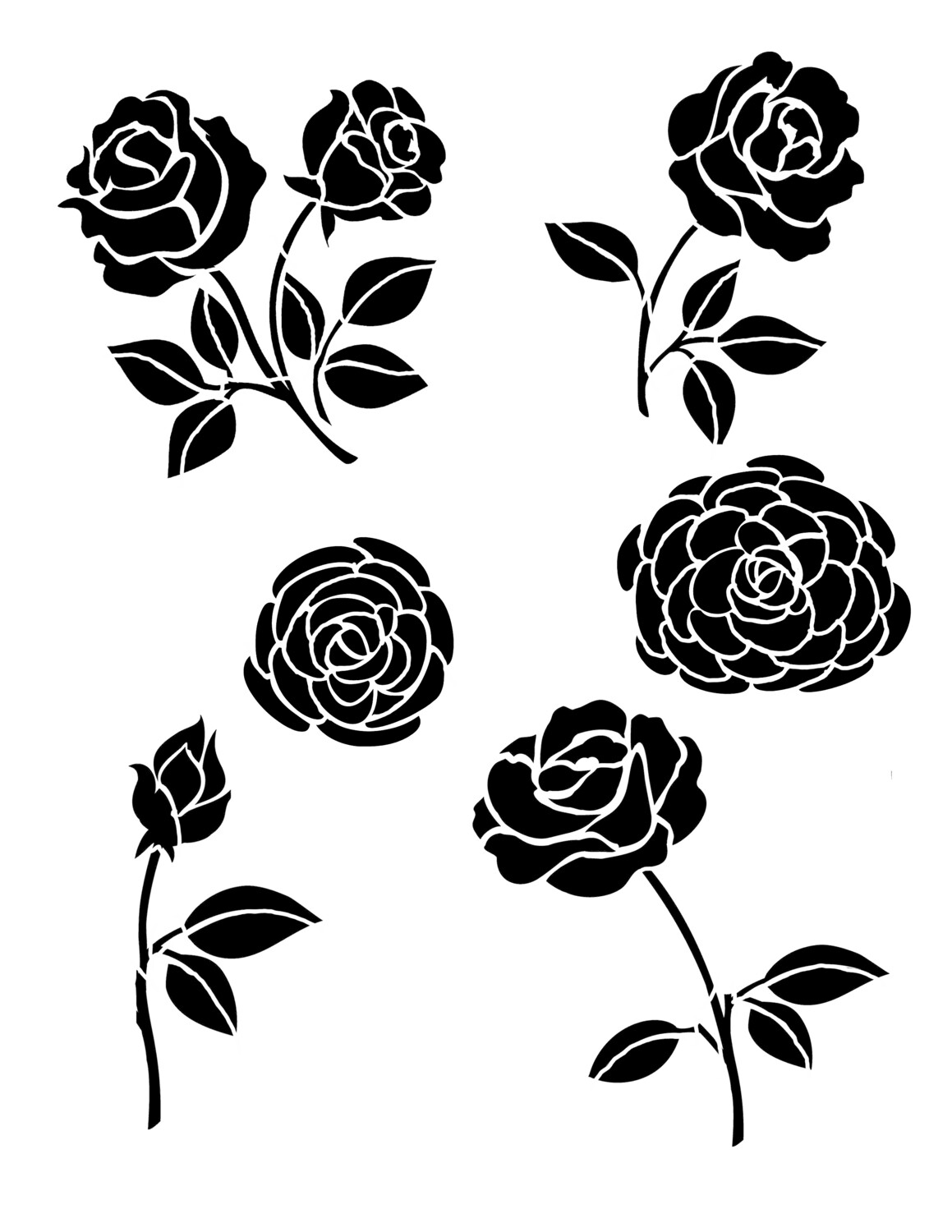 Roses and Peonies Stencil