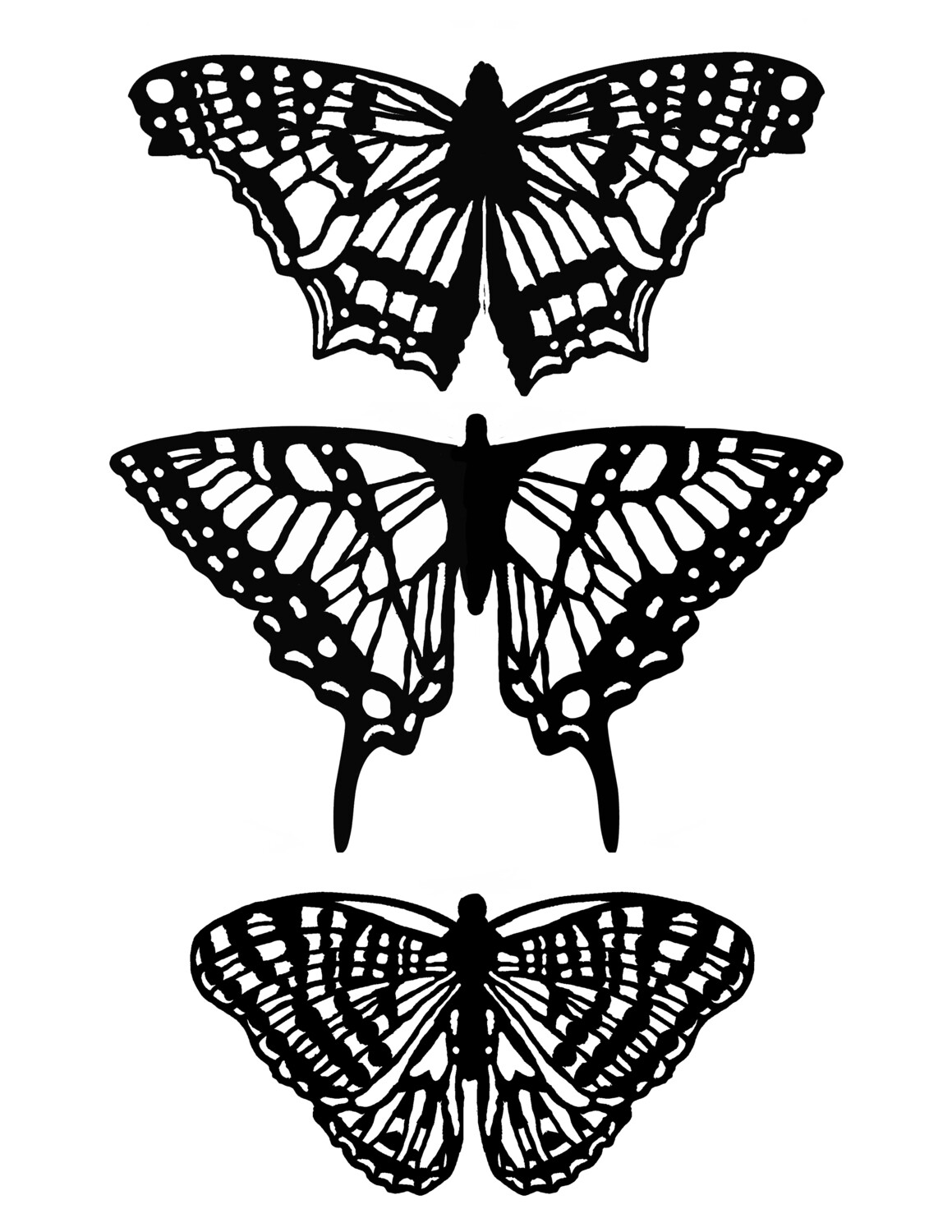 Butterflies with masks Stencil