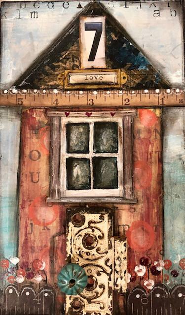 """Love House #7"" mixed media 7-1/2 x 12-1/2 original on wood"