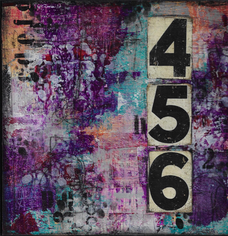 """654 Abstract"" 12x12 mixed media original"
