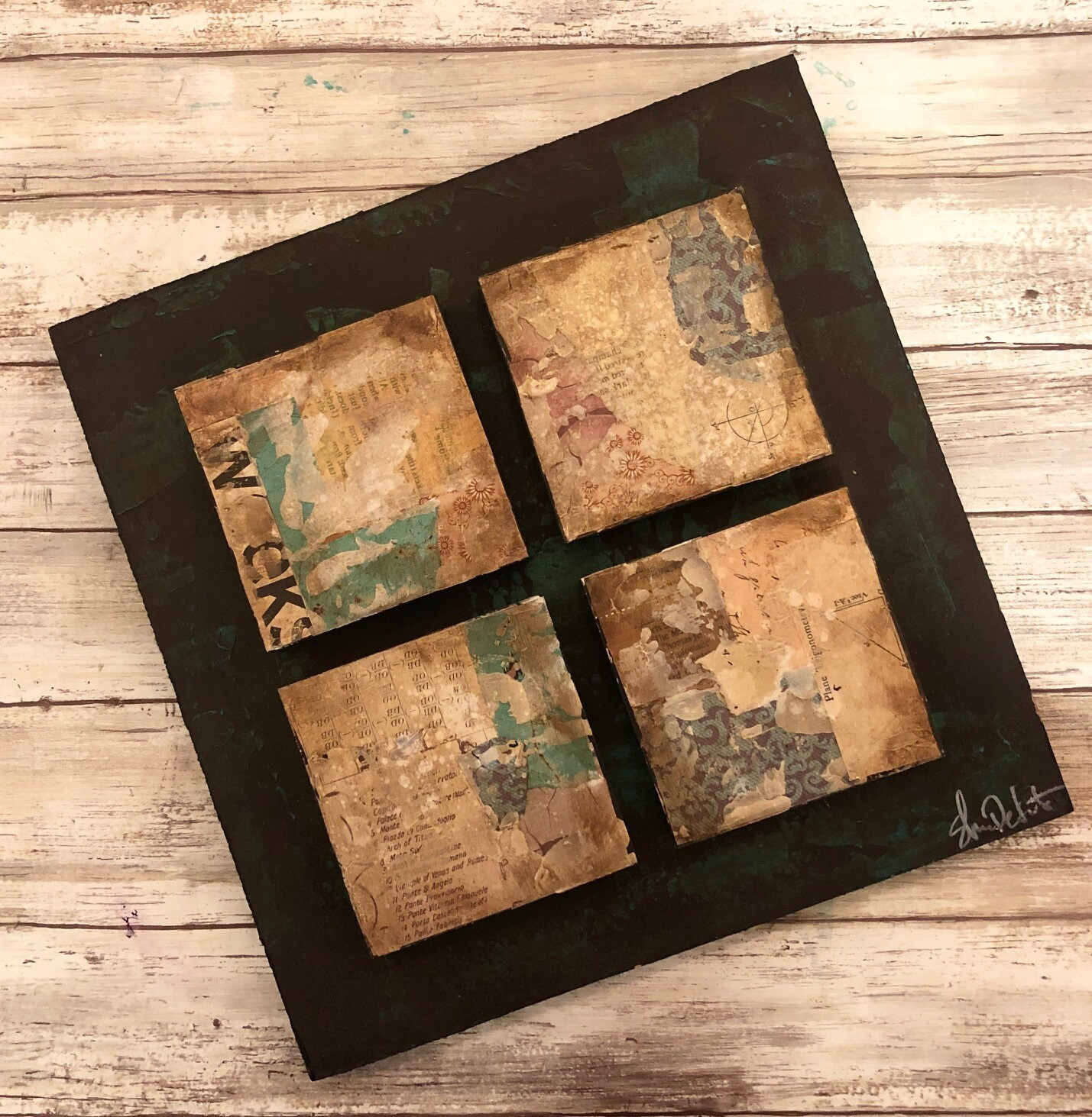 """Four Square"" mixed media multi dimensional 12x12 original clearance"