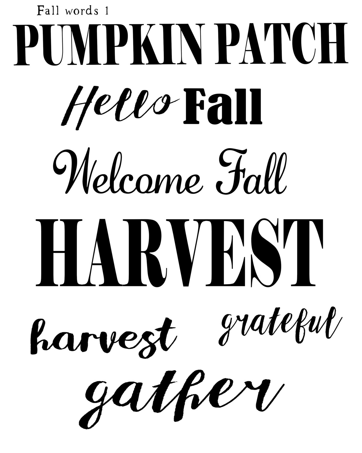 Fall Words 1 stencil