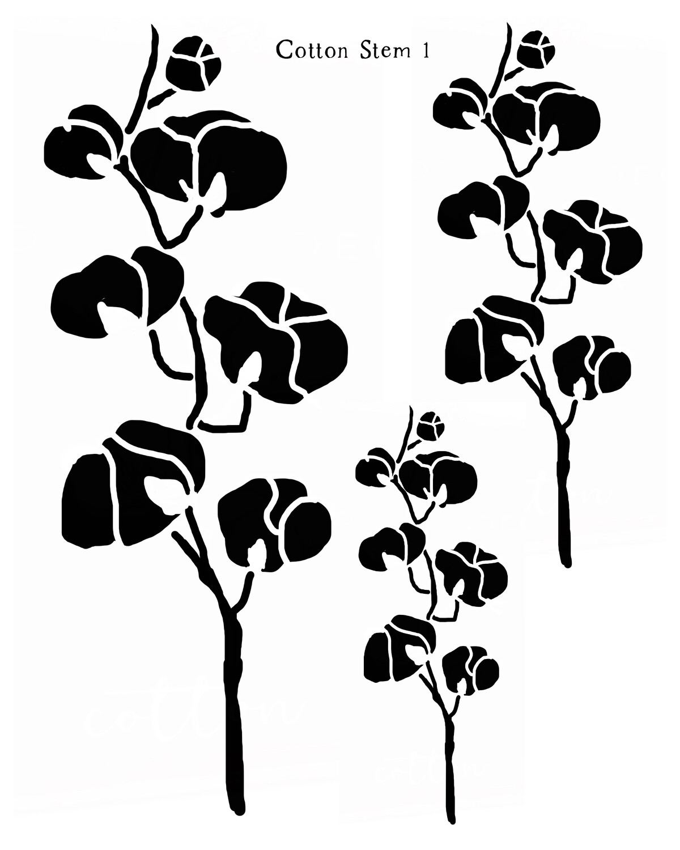 Cotton Stem 1 stencil
