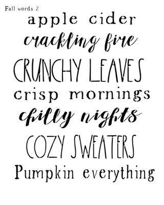 Fall Words 2 stencil